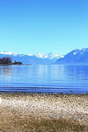 leman: View of the Leman lac in Switzerland