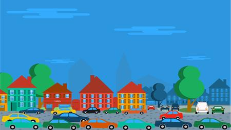 多くの車の駐車や古い歴史的な街で運転