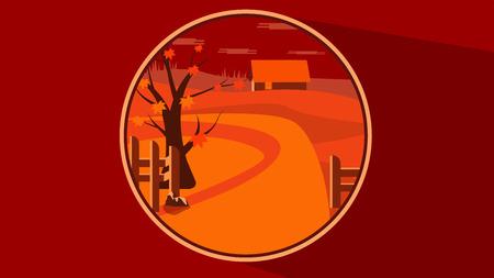 Flat autumn scene in a button