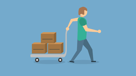 man moving boxes with his handcart