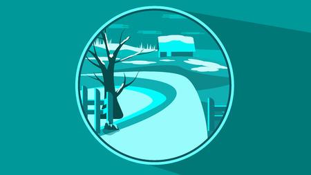 Flat winter scene in a button