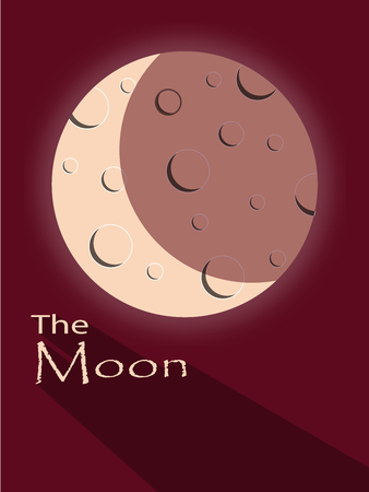 moon with shadow and text on a red background Illustration