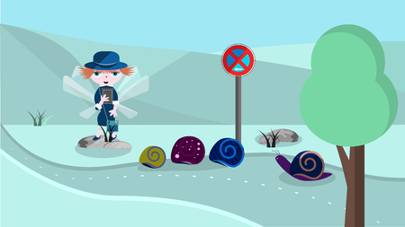 Cute illustration with police woman and snails. Illustration