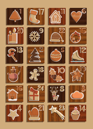 Advent calendar with twenty four christmas elements in gold.