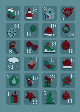Advent calendar with twenty four christmas elements in blue background.