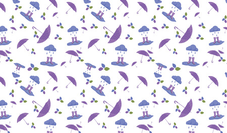 Fall pattern with umbrella and rubber boots Illustration