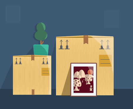 selling service: moving boxes with space inside the wallpicture