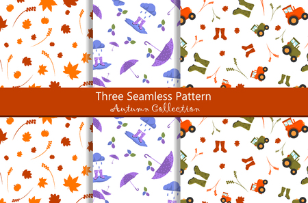 Colorful Seamless Pattern Autumn Collection different style
