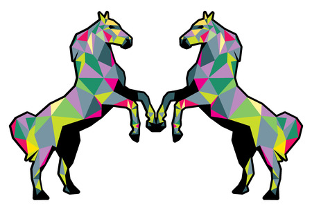 art vector: horses low poly colorful tshirt design