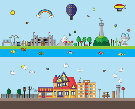 Urban and village landscape vector flat design illustrations