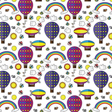 rainbow sky: air balloons rainbow sky seamless pattern vector illustration Illustration