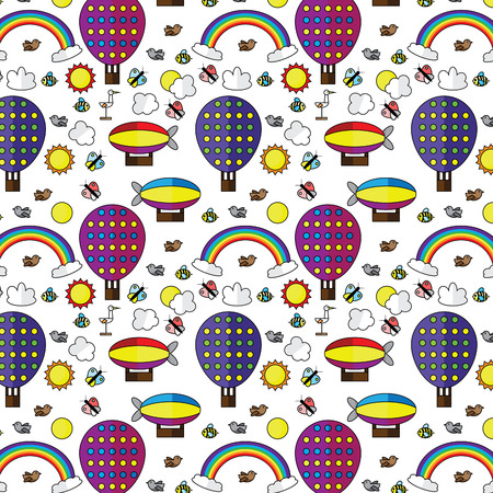 air balloons rainbow sky seamless pattern vector illustration Illustration