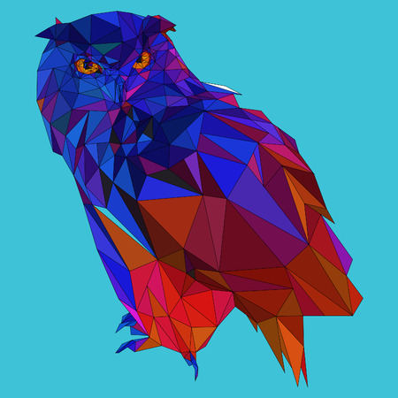sticker: Owl triangle low poly style. Good use for sticker design, icon, symbol, avatar, or any design. Easy to use. Pop art colors