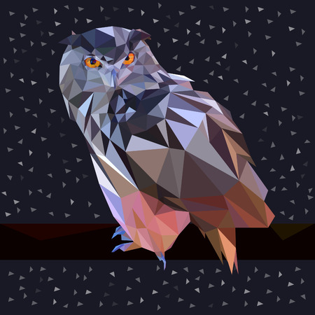 night bird: Owl triangle low poly style. Good use for sticker design, icon, symbol, avatar, or any design. Easy to use.