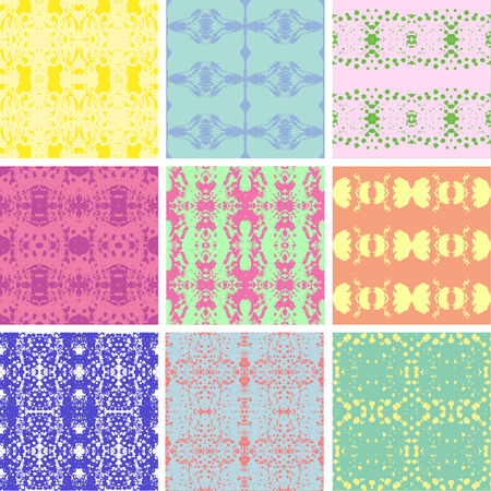 Set of nine abstract seamless pattern in vintage colors