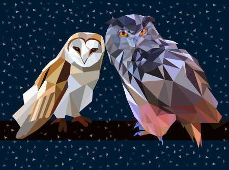 Owl set triangle low poly style.