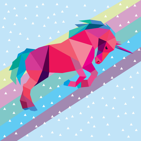 rainbows: Unicorn low poly colorful design vector illustration isolated on rainbow sky background. Illustration