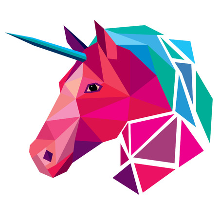 Unicorn head low poly design vector illustration isolated on white background. 向量圖像