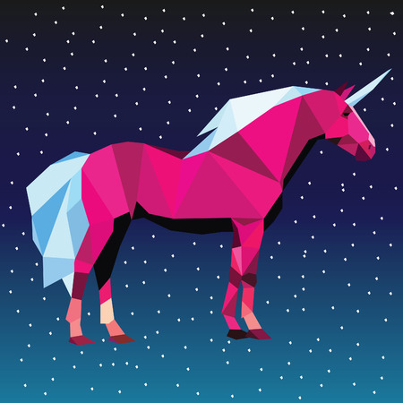 Unicorn low poly design vector illustration isolated on starry sky background.