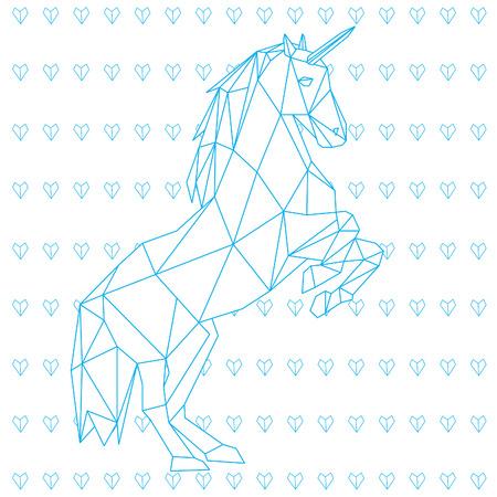 corazones azules: ilustración vectorial diseño de poli unicornio baja aislado sobre fondo blanco con corazones azules