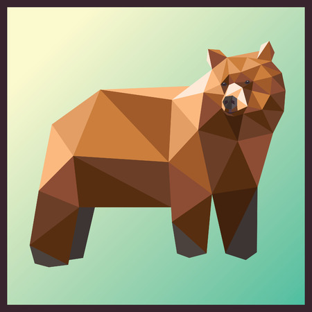 Brown bear low poly design isolated on gradient background. Animal card design.