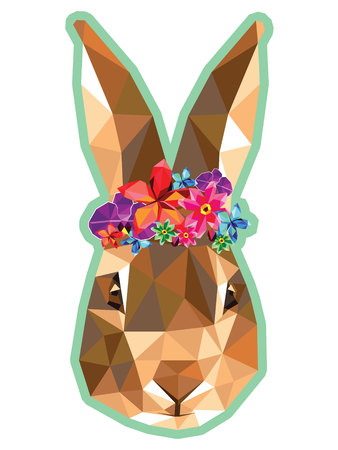 Bunny with a floral crown made out of beautiful flowers, colorful low poly design with blue outline isolated on white background. Animal portrait card design and sticker design.
