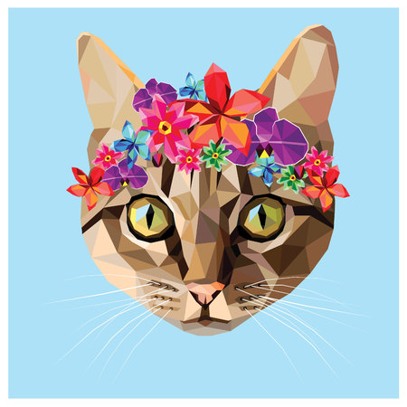 Cat with a floral crown made out of different flowers, colorful low poly design isolated on blue background with a white outline. Animal portrait card design.