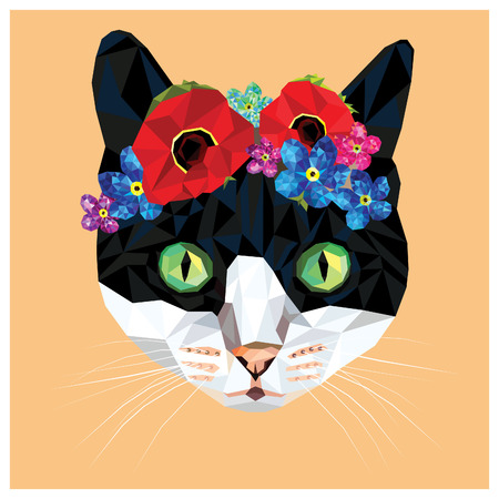 Cat with a floral crown made out of poppies and forget me nots, colorful low poly design isolated on coral background with a white outline. Animal portrait card design.