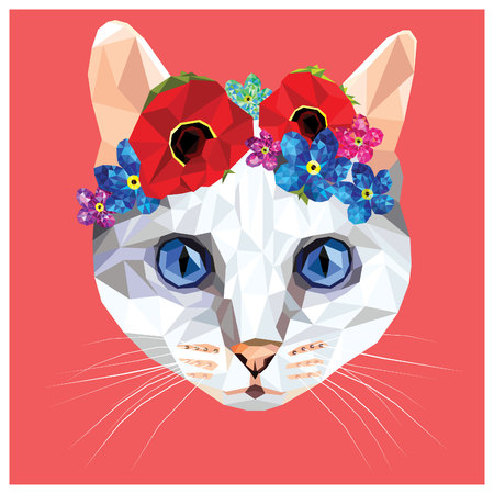 Cat with a floral crown made out of poppies and forget me nots, colorful low poly design isolated on pink background with a white outline. Animal portrait card design. White cat with blue eyes. Illustration