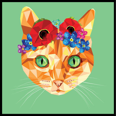 Cat with a floral crown made out of poppies and forget me nots, colorful low poly design isolated on blue background with a white outline. Animal portrait card design.