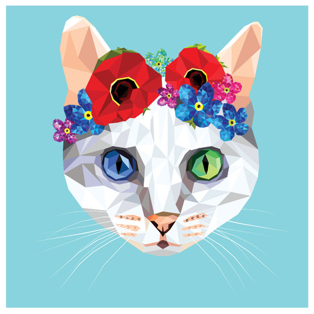 Cat with a floral crown made out of poppies and forget me nots, colorful low poly design isolated on blue background with a white outline. Animal portrait card design.Heterochromia blue and green eyes