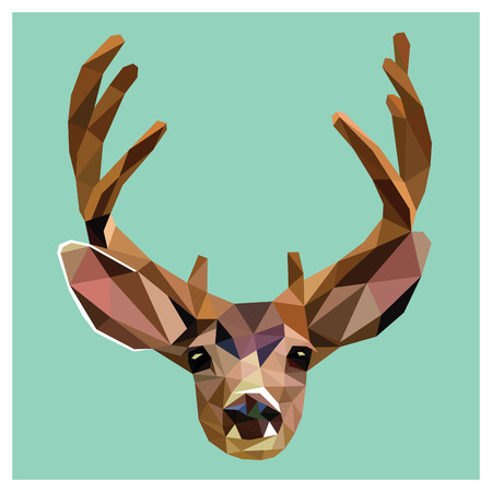 Deer colorful low poly design isolated on blue background with white outline. Animal portrait card design. Background with wild animal. Vector illustration deer with horns. Illustration