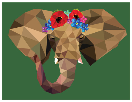 Elephant head colorful low poly design with beautiful floral crown isolated on blue background with white outline. Animal portrait card design. Background with wild animal. Vector illustration Illustration