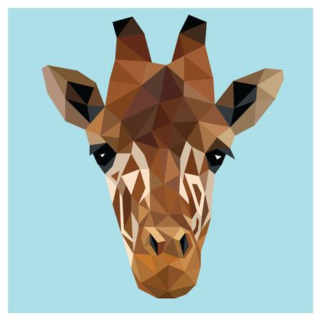 to polygons: Pista de la jirafa colorido diseño de bajo poli aislado en fondo azul con el esquema blanco. diseño de la tarjeta retrato animal. Fondo con el animal salvaje. ilustración vectorial Vectores