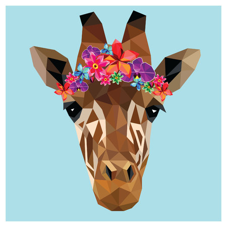 Giraffe head colorful low poly design isolated on blue background with white outline. Animal portrait card design. Background with wild animal. Vector illustration