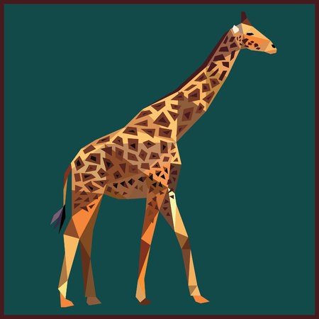 Giraffe colorful low poly design  on blue background with dark brown outline. Animal card design. Background with wild animal. Vector illustration Illustration