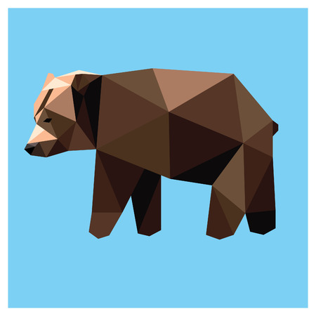 Grizzly bear low poly design isolated on blue background with white outline. Animal card design.