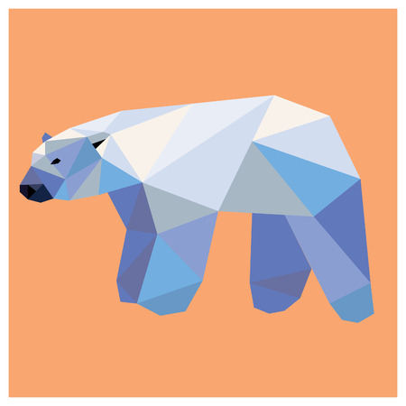 Polar bear low poly design isolated on pink background. Animal card design.