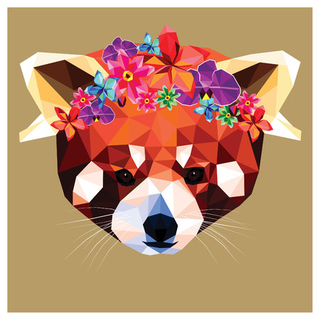 Red panda with a floral crown made out of beautiful flowers, colorful low poly design isolated on brown background with a white outline. Animal portrait card design.