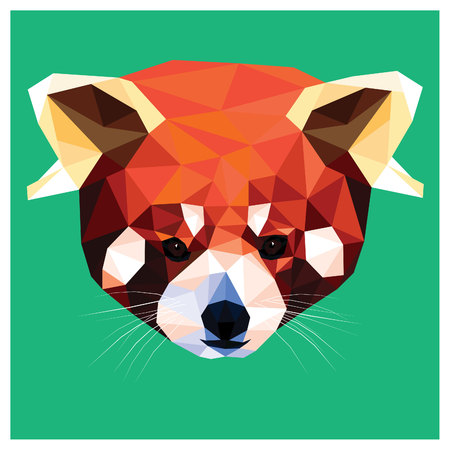 Red Panda colorful low poly design isolated on green background. Animal portrait card design.