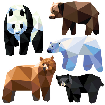 Bear set colorful bears low poly design isolated on white background. Grizzly, Panda, Polar bear, Brown bear, Black bear. Stock Illustratie