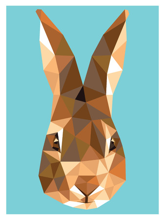 Bunny colorful low poly design isolated on blue background. Animal portrait card design. Illustration