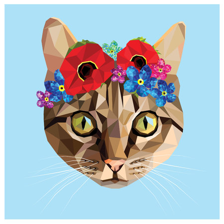 Cat with a floral crown made out of poppies and forget me nots, colorful low poly design isolated on blue background with a white outline. Animal portrait card design. Stock Vector - 55722752