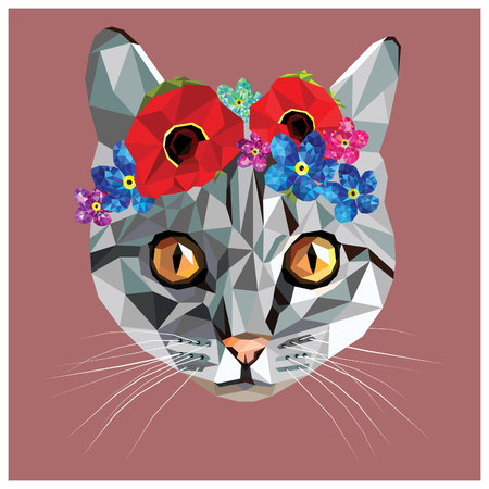 Cat with a floral crown made out of poppies and forget me nots, colorful low poly design isolated on blue background with a white outline. Animal portrait card design. Stock Vector - 55722753