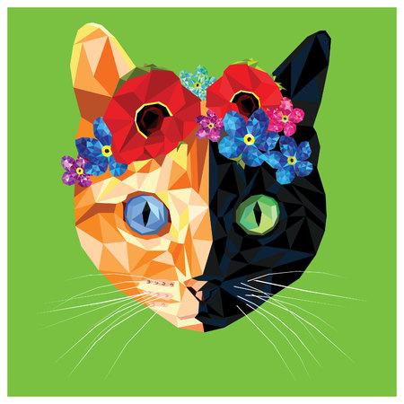Cat with different colored eyes blue and green with floral crown made out of poppies and forget me nots, colorful low poly design isolated on blue background. Animal portrait card design.Heterochromia