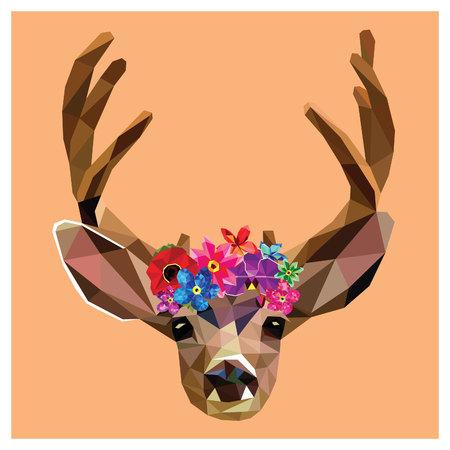Cerfs communs avec une couronne florale faite de belles fleurs, conception de poly bas coloré isolé sur design.Background background.Animal carte portrait rose avec animal.Vector sauvage illustration cerf avec des cornes.