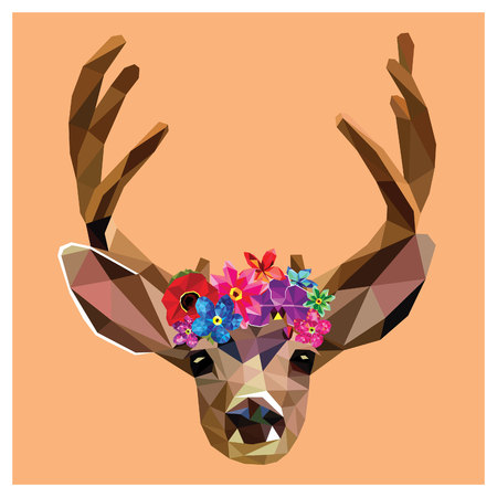 Deer with a floral crown made out of beautiful flowers,colorful low poly design isolated on pink background.Animal portrait card design.Background with wild animal.Vector illustration deer with horns.