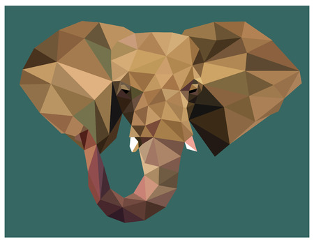 Elephant head colorful low poly design isolated on green background with white outline. Animal portrait card design. Background with wild animal. Vector illustration