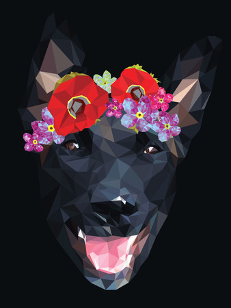 Dog with a floral crown made out of poppies and forget me nots, colorful low poly design isolated on dark background. Animal portrait card design.