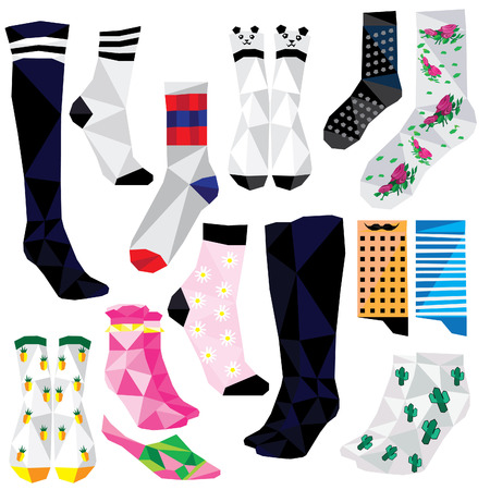 Socks set colorful low poly fashion designs isolated on white background. illustration. Collection in a modern style.